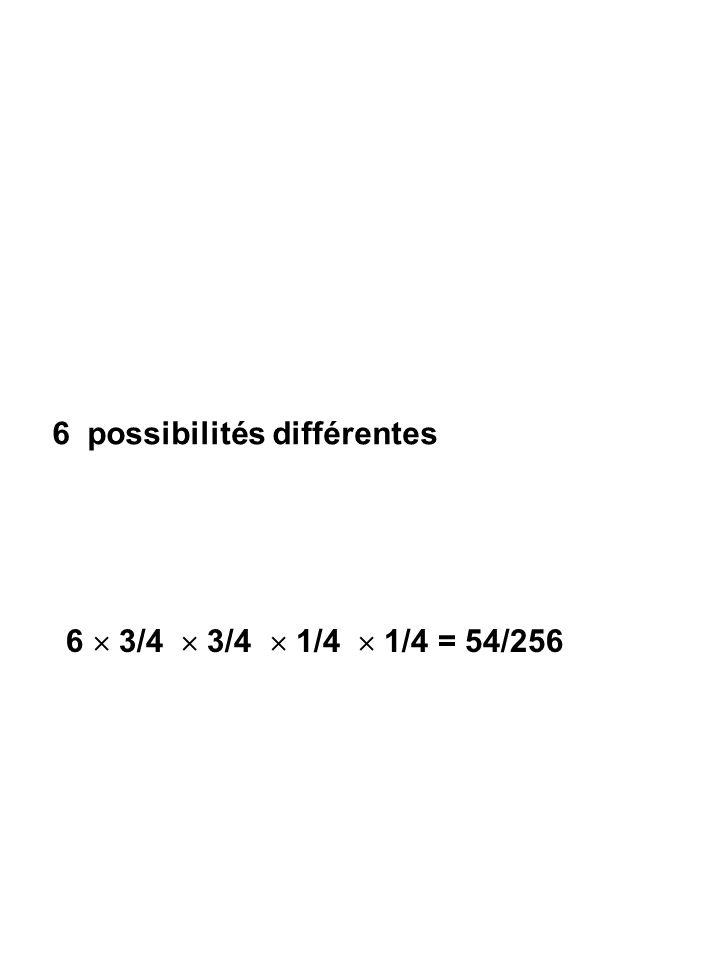 6 possibilités différentes 6  3/4  3/4  1/4  1/4 = 54/256