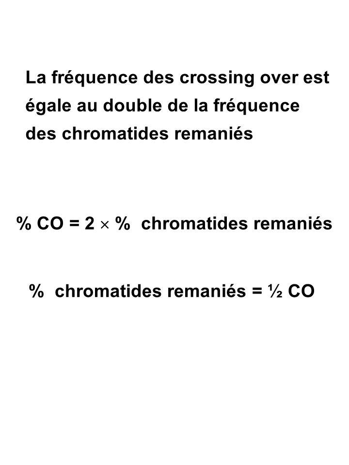 La fréquence des crossing over est égale au double de la fréquence des chromatides remaniés % CO = 2  % chromatides remaniés % chromatides remaniés =