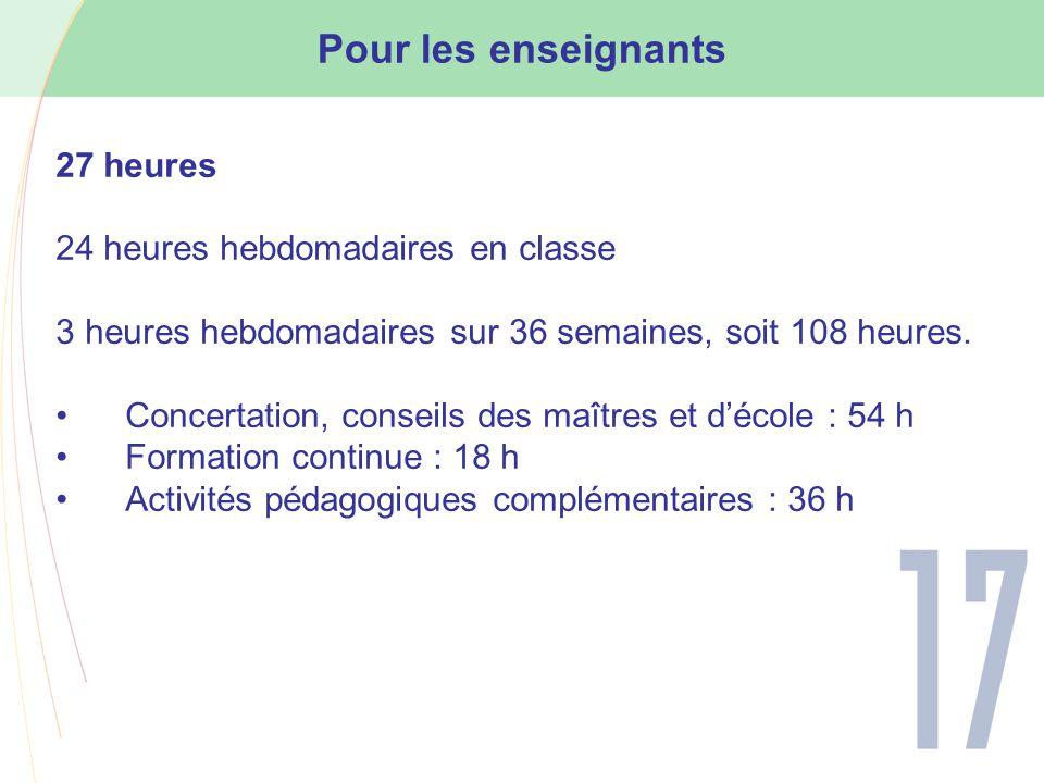 Pour les enseignants 27 heures 24 heures hebdomadaires en classe 3 heures hebdomadaires sur 36 semaines, soit 108 heures.