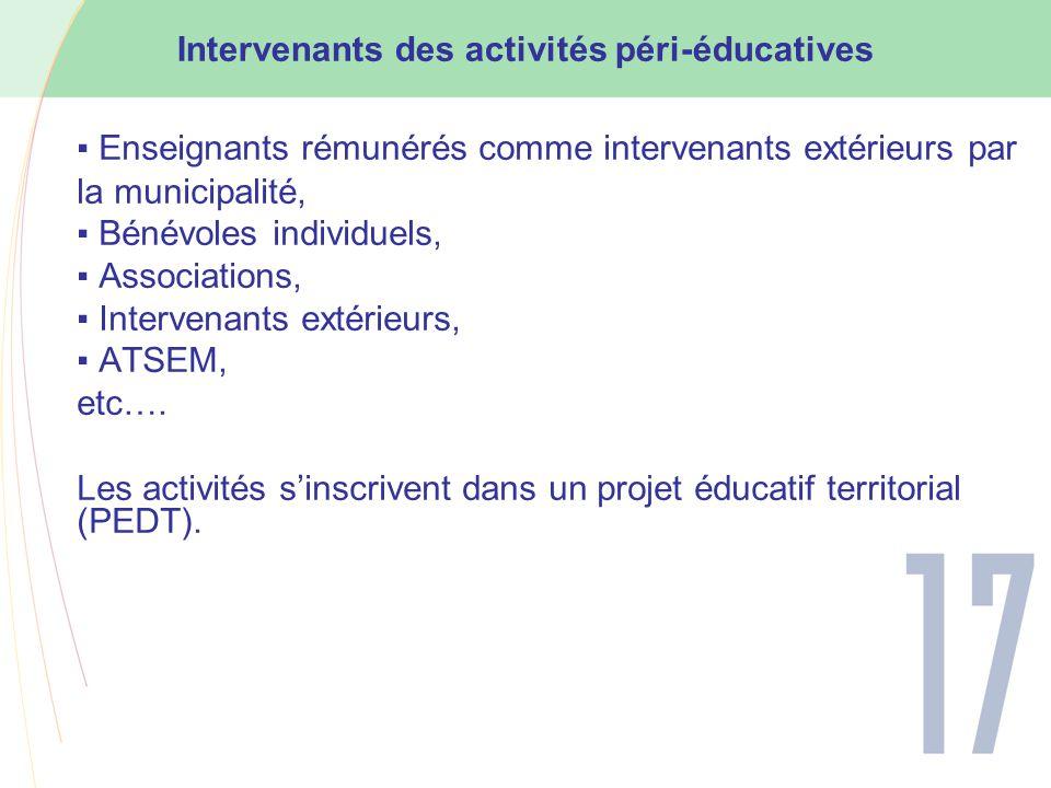 ▪ Enseignants rémunérés comme intervenants extérieurs par la municipalité, ▪ Bénévoles individuels, ▪ Associations, ▪ Intervenants extérieurs, ▪ ATSEM, etc….