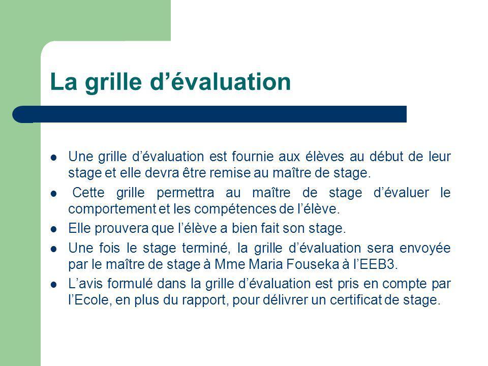 La grille d'évaluation Une grille d'évaluation est fournie aux élèves au début de leur stage et elle devra être remise au maître de stage.