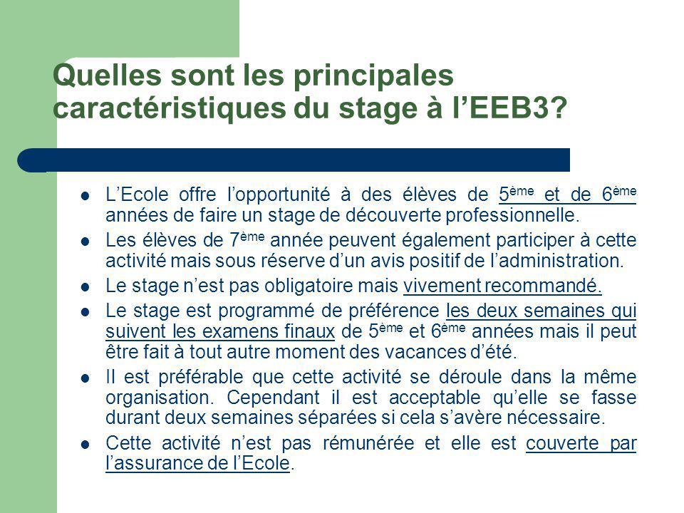 Quelles sont les principales caractéristiques du stage à l'EEB3.