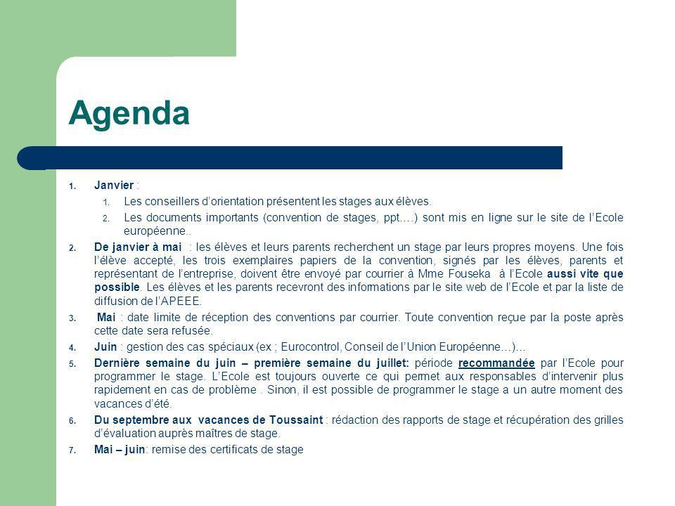 Agenda 1.Janvier : 1. Les conseillers d'orientation présentent les stages aux élèves.
