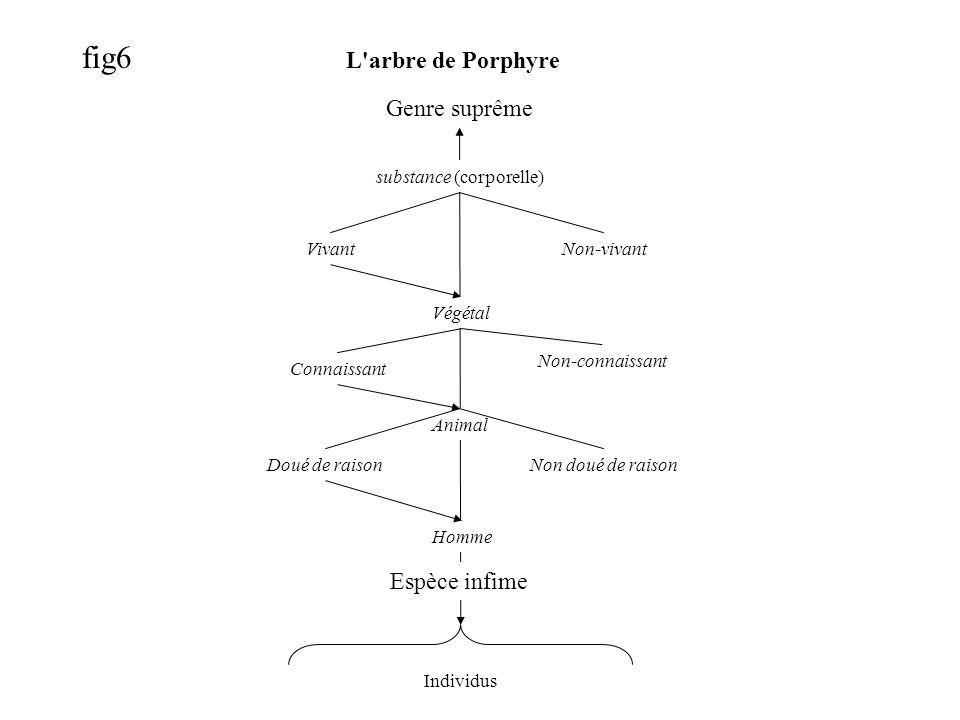 fig6 L arbre de Porphyre Genre suprême VivantNon-vivant Végétal Connaissant Non-connaissant Animal Doué de raisonNon doué de raison Homme Espèce infime Individus substance (corporelle)
