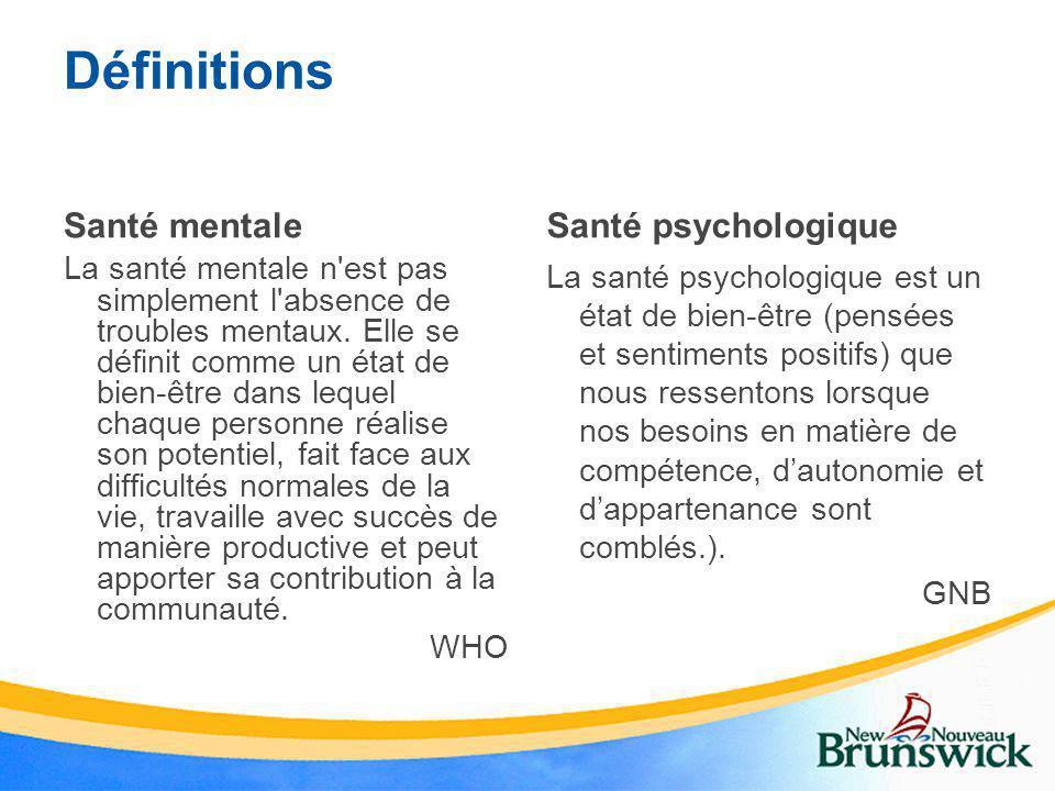Définitions Santé mentale La santé mentale n'est pas simplement l'absence de troubles mentaux. Elle se définit comme un état de bien-être dans lequel
