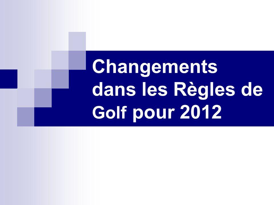Changements dans les Règles de Golf pour 2012