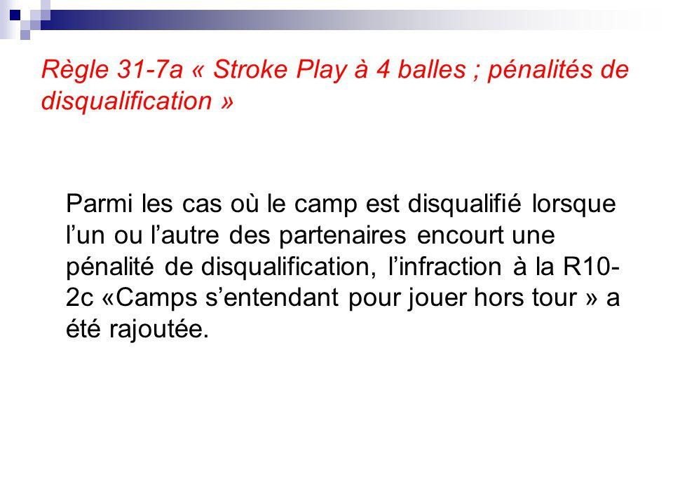 Règle 31-7a « Stroke Play à 4 balles ; pénalités de disqualification » Parmi les cas où le camp est disqualifié lorsque l'un ou l'autre des partenaire