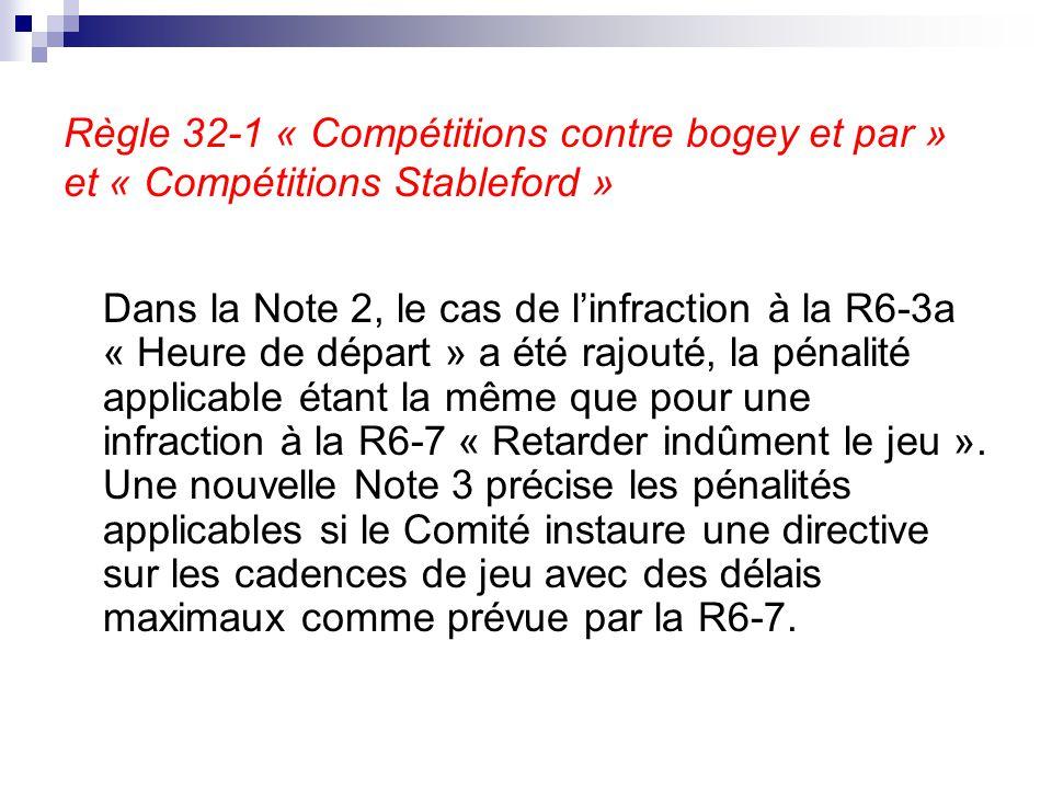 Règle 32-1 « Compétitions contre bogey et par » et « Compétitions Stableford » Dans la Note 2, le cas de l'infraction à la R6-3a « Heure de départ » a