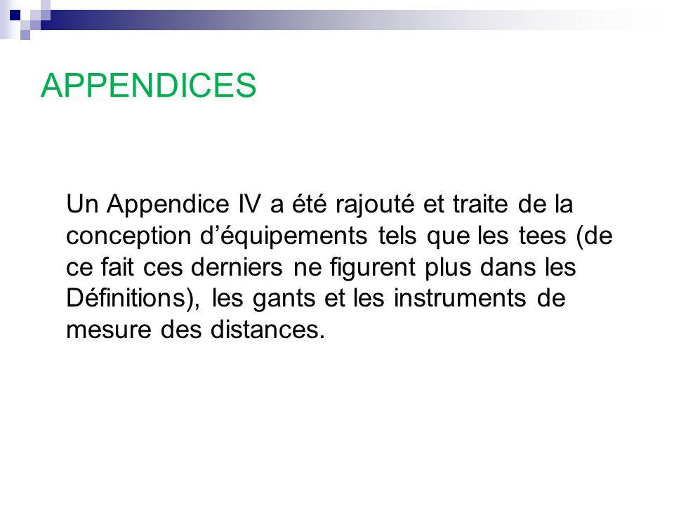 APPENDICES Un Appendice IV a été rajouté et traite de la conception d'équipements tels que les tees (de ce fait ces derniers ne figurent plus dans les