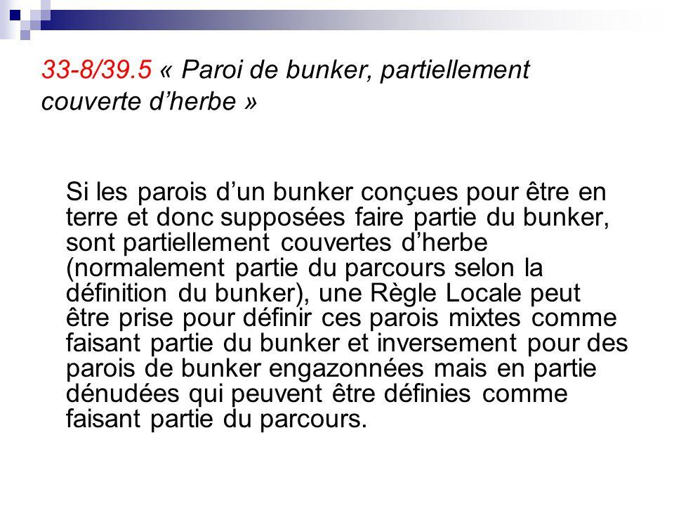 33-8/39.5 « Paroi de bunker, partiellement couverte d'herbe » Si les parois d'un bunker conçues pour être en terre et donc supposées faire partie du b