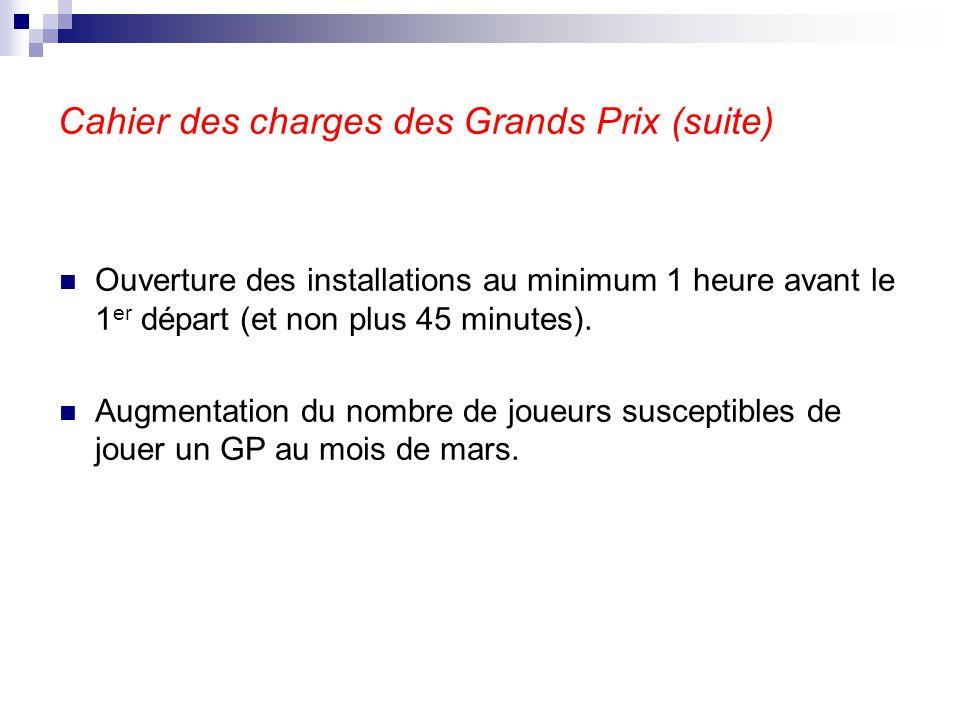 Cahier des charges des Grands Prix (suite) Ouverture des installations au minimum 1 heure avant le 1 er départ (et non plus 45 minutes). Augmentation