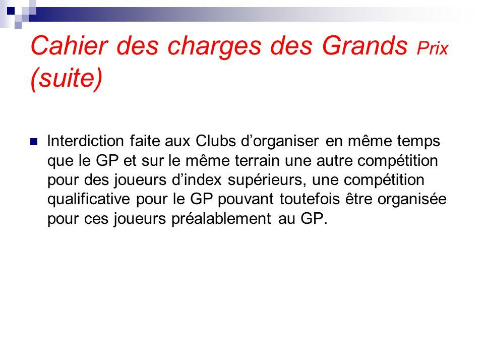 Cahier des charges des Grands Prix (suite) lnterdiction faite aux Clubs d'organiser en même temps que le GP et sur le même terrain une autre compétiti