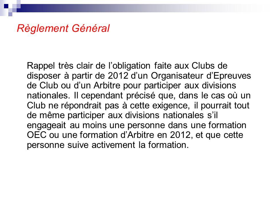 Règlement Général Rappel très clair de l'obligation faite aux Clubs de disposer à partir de 2012 d'un Organisateur d'Epreuves de Club ou d'un Arbitre