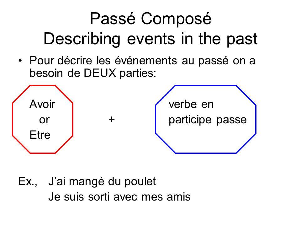 Passé Composé Describing events in the past Pour décrire les événements au passé on a besoin de DEUX parties: Avoirverbe en or+ participe passe Etre E
