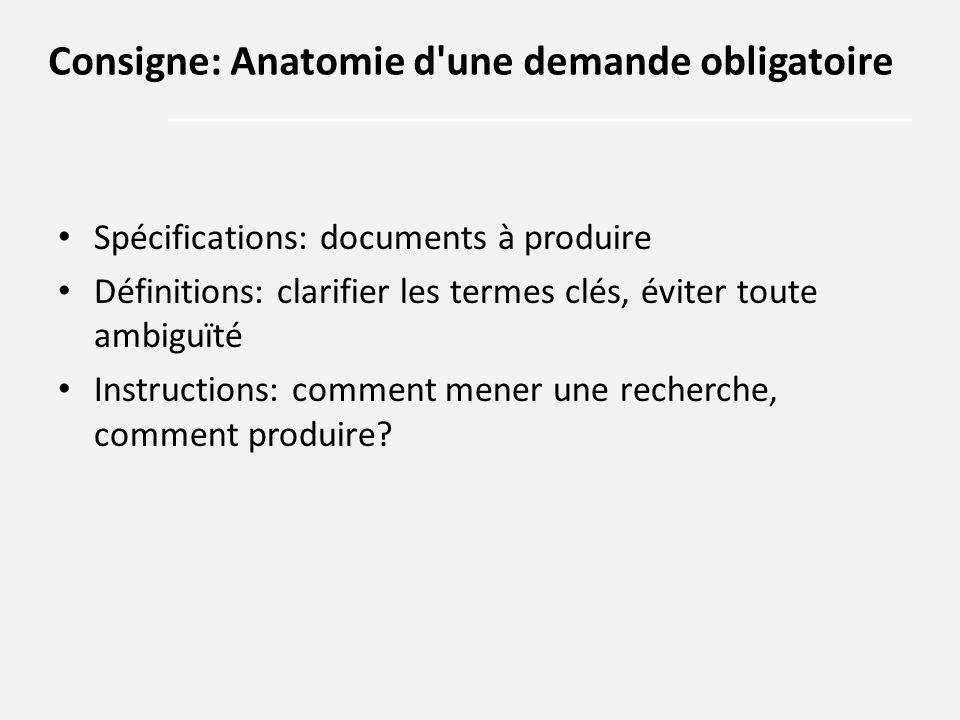 Spécifications: documents à produire Définitions: clarifier les termes clés, éviter toute ambiguïté Instructions: comment mener une recherche, comment