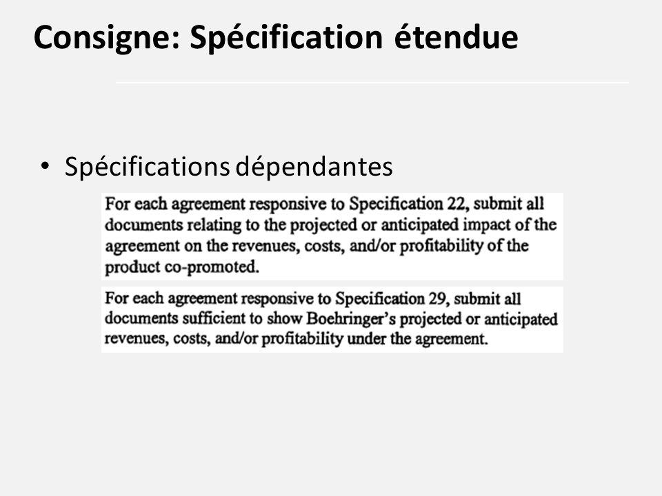 Spécifications dépendantes Consigne: Spécification étendue