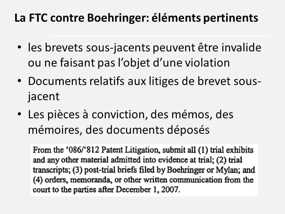 les brevets sous-jacents peuvent être invalide ou ne faisant pas l'objet d'une violation Documents relatifs aux litiges de brevet sous- jacent Les piè