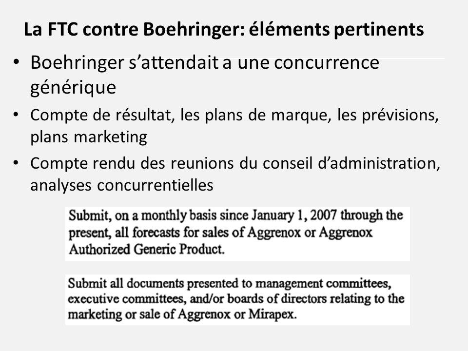 Boehringer s'attendait a une concurrence générique Compte de résultat, les plans de marque, les prévisions, plans marketing Compte rendu des reunions