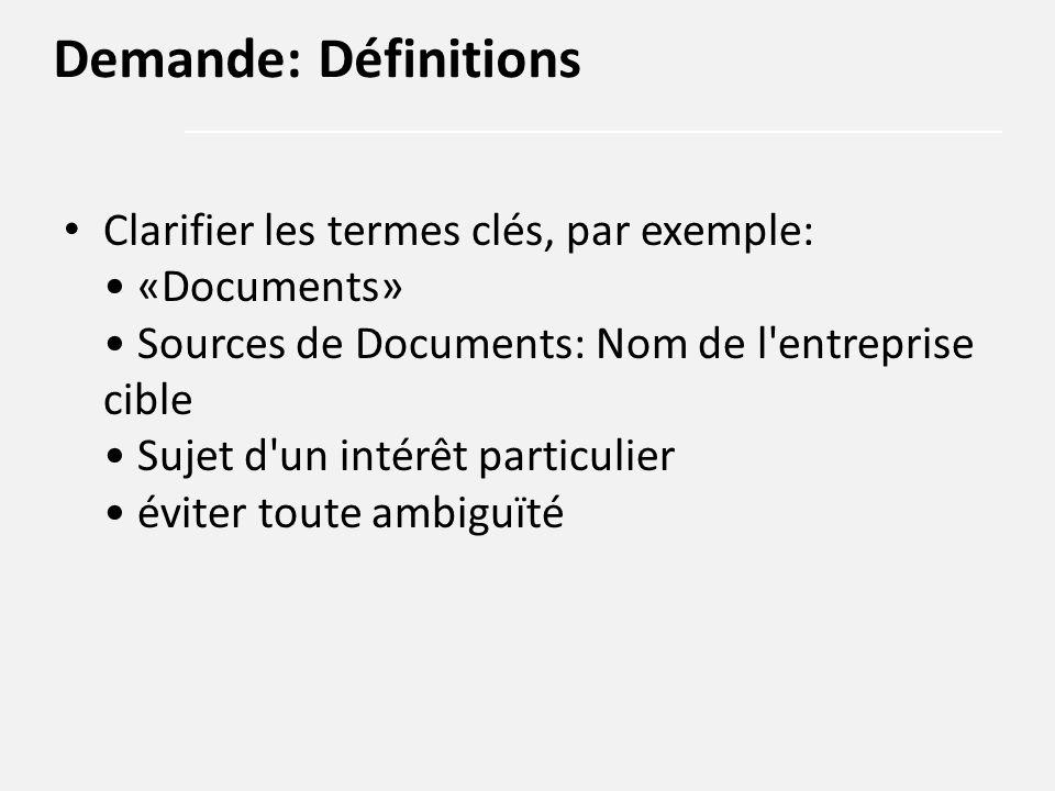 Clarifier les termes clés, par exemple: «Documents» Sources de Documents: Nom de l'entreprise cible Sujet d'un intérêt particulier éviter toute ambigu