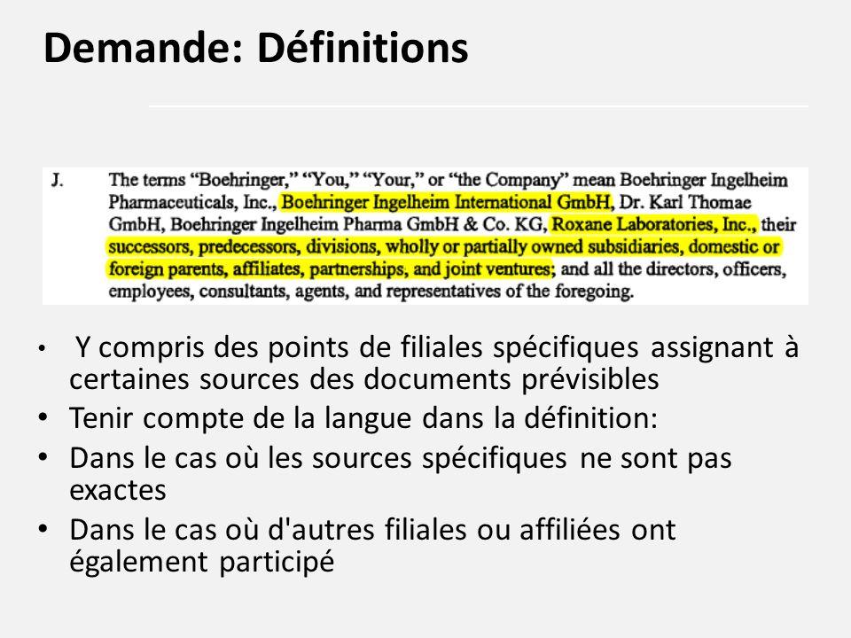 Y compris des points de filiales spécifiques assignant à certaines sources des documents prévisibles Tenir compte de la langue dans la définition: Dan