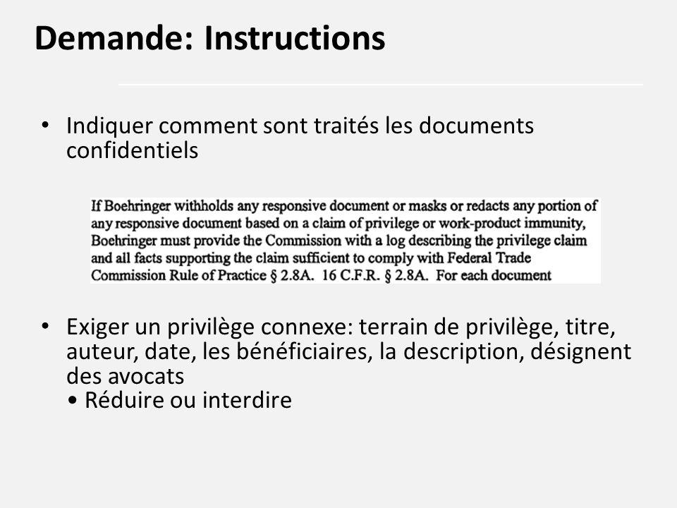 Indiquer comment sont traités les documents confidentiels Exiger un privilège connexe: terrain de privilège, titre, auteur, date, les bénéficiaires, l