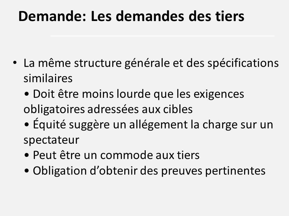 La même structure générale et des spécifications similaires Doit être moins lourde que les exigences obligatoires adressées aux cibles Équité suggère