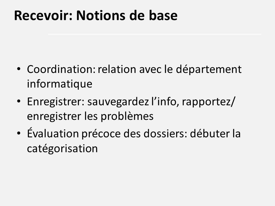 Coordination: relation avec le département informatique Enregistrer: sauvegardez l'info, rapportez/ enregistrer les problèmes Évaluation précoce des d