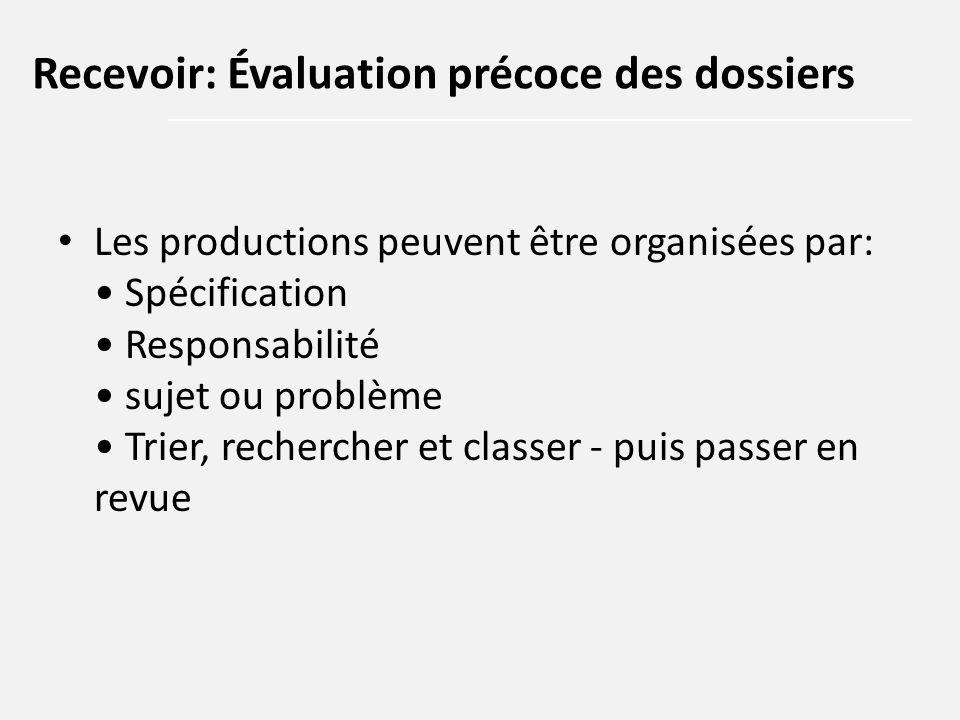 Les productions peuvent être organisées par: Spécification Responsabilité sujet ou problème Trier, rechercher et classer - puis passer en revue Recevo