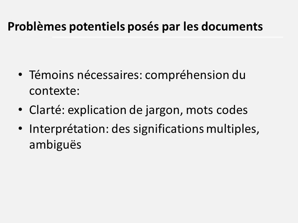 Témoins nécessaires: compréhension du contexte: Clarté: explication de jargon, mots codes Interprétation: des significations multiples, ambiguës Probl