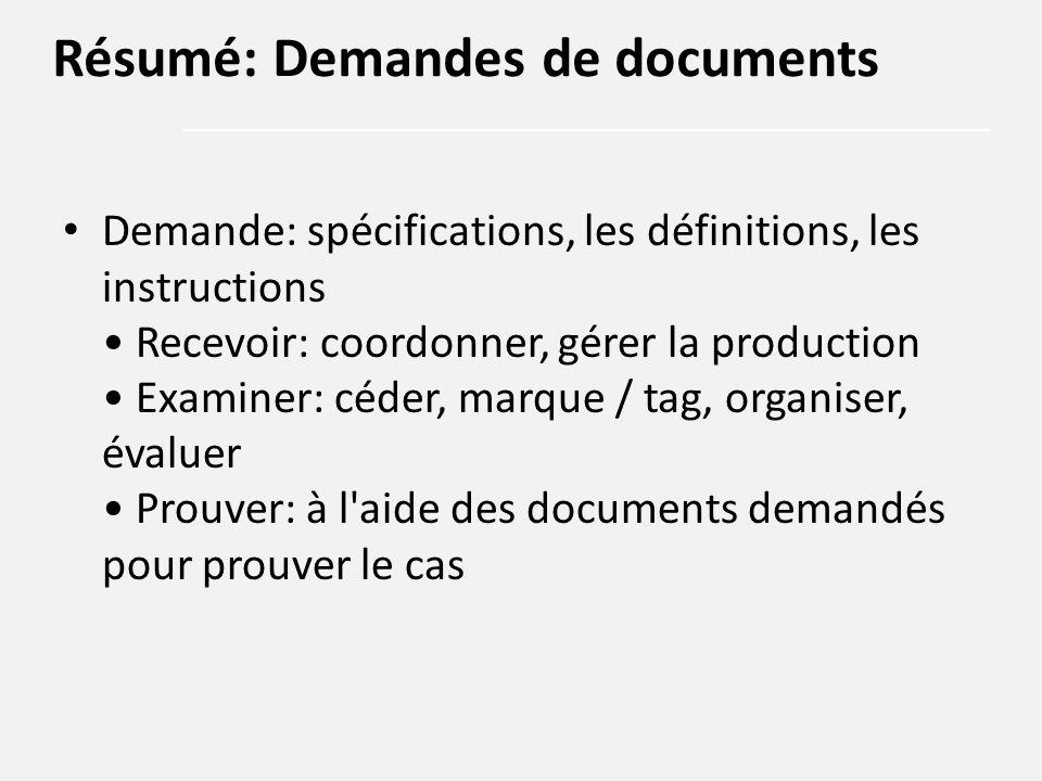 Demande: spécifications, les définitions, les instructions Recevoir: coordonner, gérer la production Examiner: céder, marque / tag, organiser, évaluer