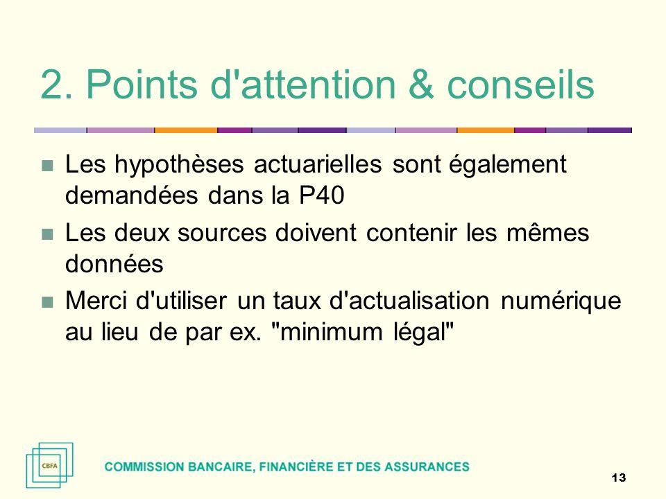 2. Points d'attention & conseils Les hypothèses actuarielles sont également demandées dans la P40 Les deux sources doivent contenir les mêmes données