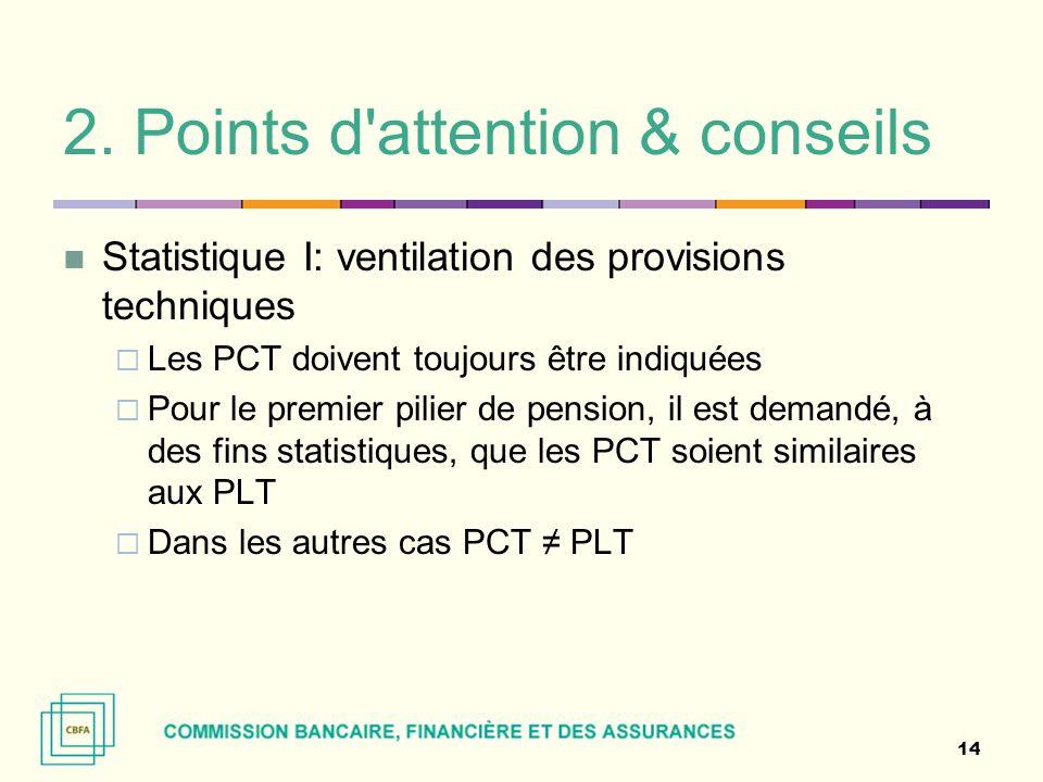 2. Points d'attention & conseils Statistique I: ventilation des provisions techniques  Les PCT doivent toujours être indiquées  Pour le premier pili