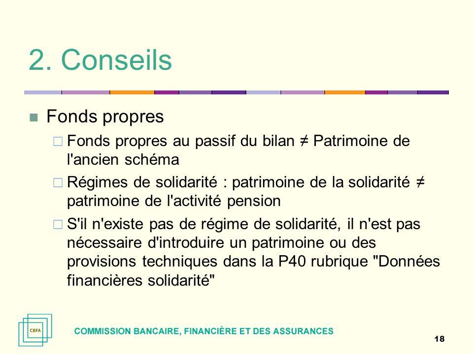 2. Conseils Fonds propres  Fonds propres au passif du bilan ≠ Patrimoine de l'ancien schéma  Régimes de solidarité : patrimoine de la solidarité ≠ p