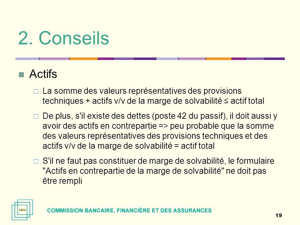 2. Conseils Actifs  La somme des valeurs représentatives des provisions techniques + actifs v/v de la marge de solvabilité ≤ actif total  De plus, s