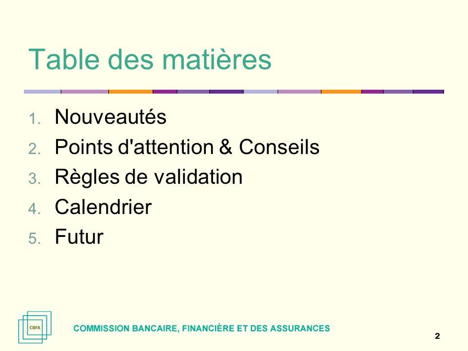 Table des matières 1. Nouveautés 2. Points d'attention & Conseils 3. Règles de validation 4. Calendrier 5. Futur 2