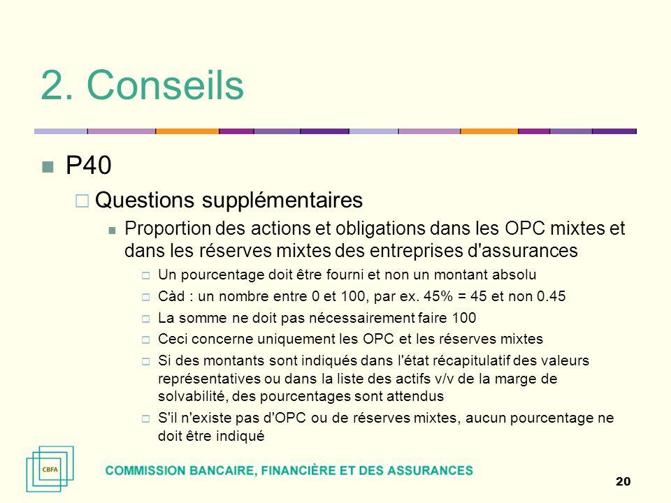 2. Conseils P40  Questions supplémentaires Proportion des actions et obligations dans les OPC mixtes et dans les réserves mixtes des entreprises d'as