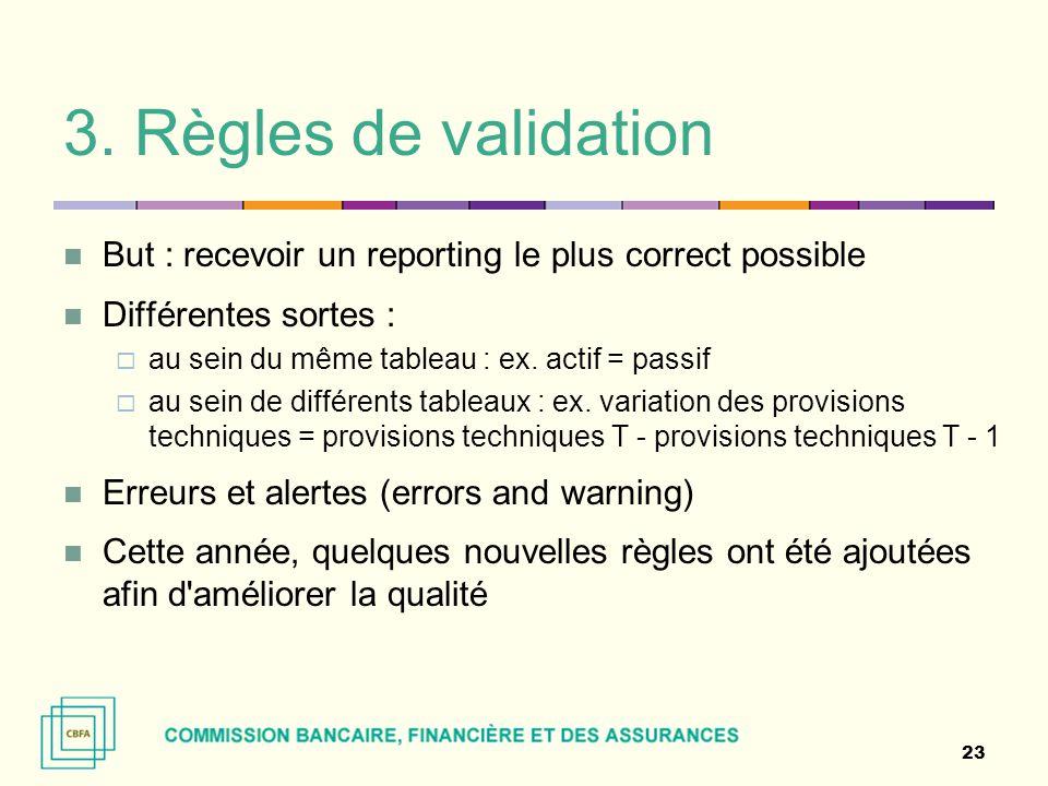 3. Règles de validation But : recevoir un reporting le plus correct possible Différentes sortes :  au sein du même tableau : ex. actif = passif  au
