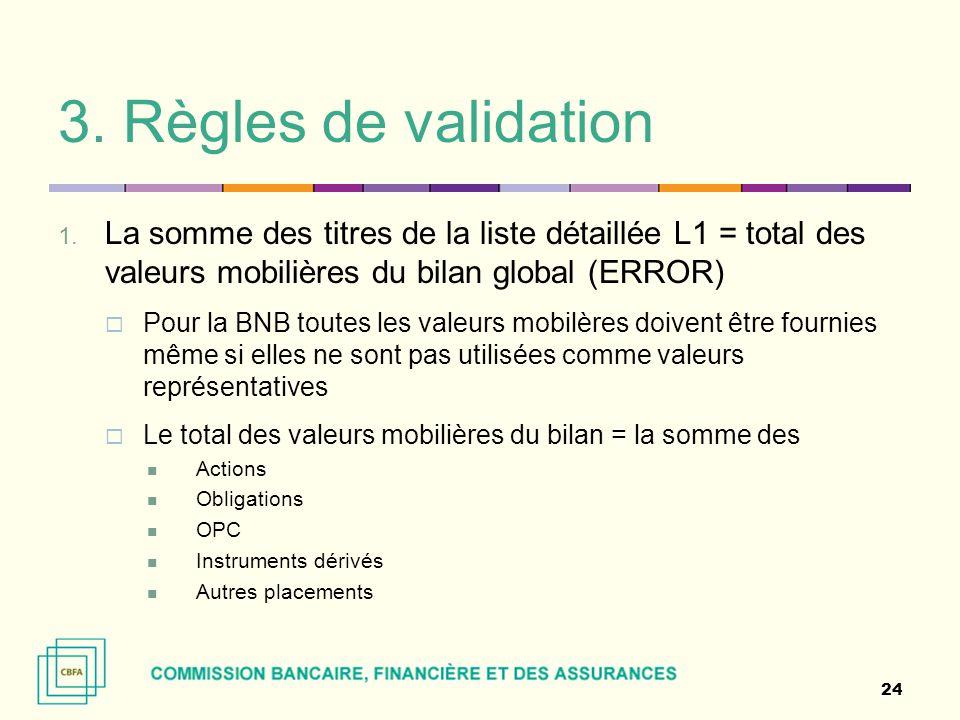 3. Règles de validation 1. La somme des titres de la liste détaillée L1 = total des valeurs mobilières du bilan global (ERROR)  Pour la BNB toutes le