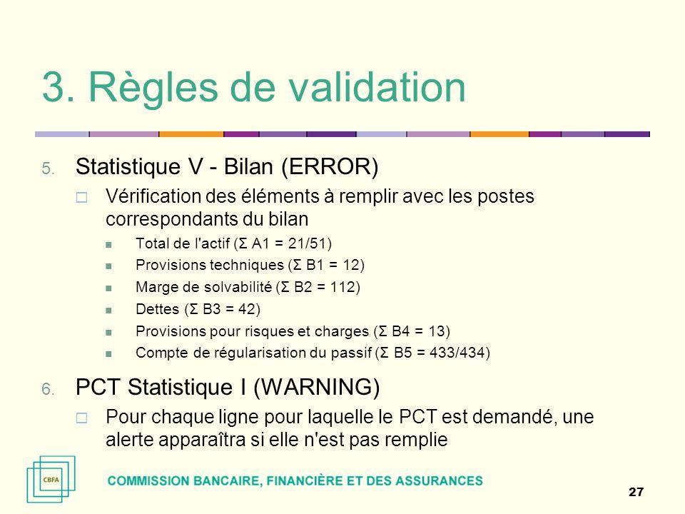 3. Règles de validation 5. Statistique V - Bilan (ERROR)  Vérification des éléments à remplir avec les postes correspondants du bilan Total de l'acti