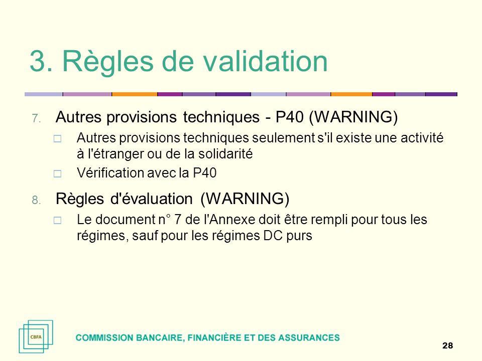 3. Règles de validation 7. Autres provisions techniques - P40 (WARNING)  Autres provisions techniques seulement s'il existe une activité à l'étranger