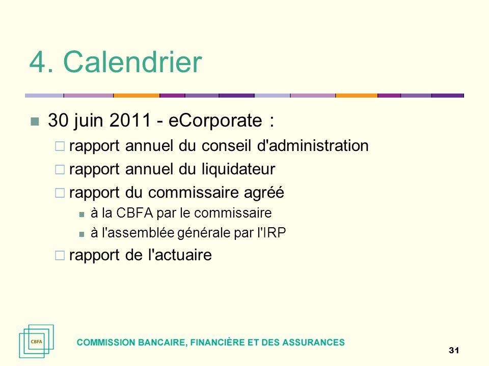 4. Calendrier 30 juin 2011 - eCorporate :  rapport annuel du conseil d'administration  rapport annuel du liquidateur  rapport du commissaire agréé