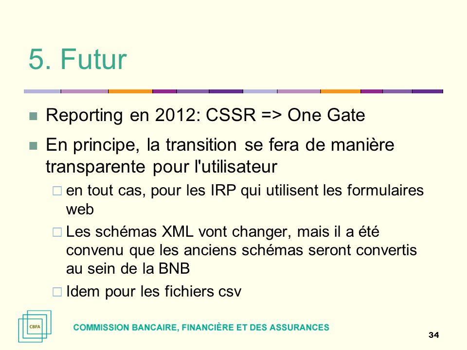 5. Futur Reporting en 2012: CSSR => One Gate En principe, la transition se fera de manière transparente pour l'utilisateur  en tout cas, pour les IRP