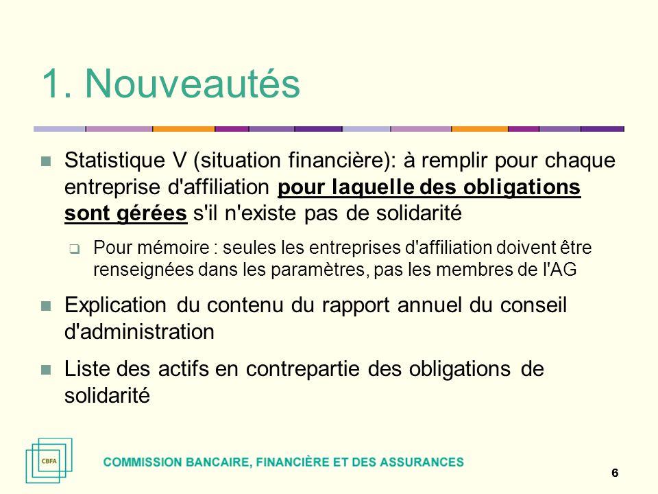 1. Nouveautés Statistique V (situation financière): à remplir pour chaque entreprise d'affiliation pour laquelle des obligations sont gérées s'il n'ex
