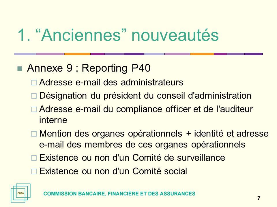 """1. """"Anciennes"""" nouveautés Annexe 9 : Reporting P40  Adresse e-mail des administrateurs  Désignation du président du conseil d'administration  Adres"""
