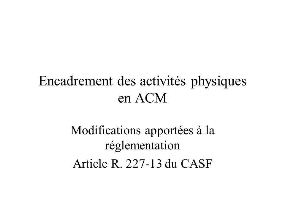 Encadrement des activités physiques en ACM Modifications apportées à la réglementation Article R. 227-13 du CASF