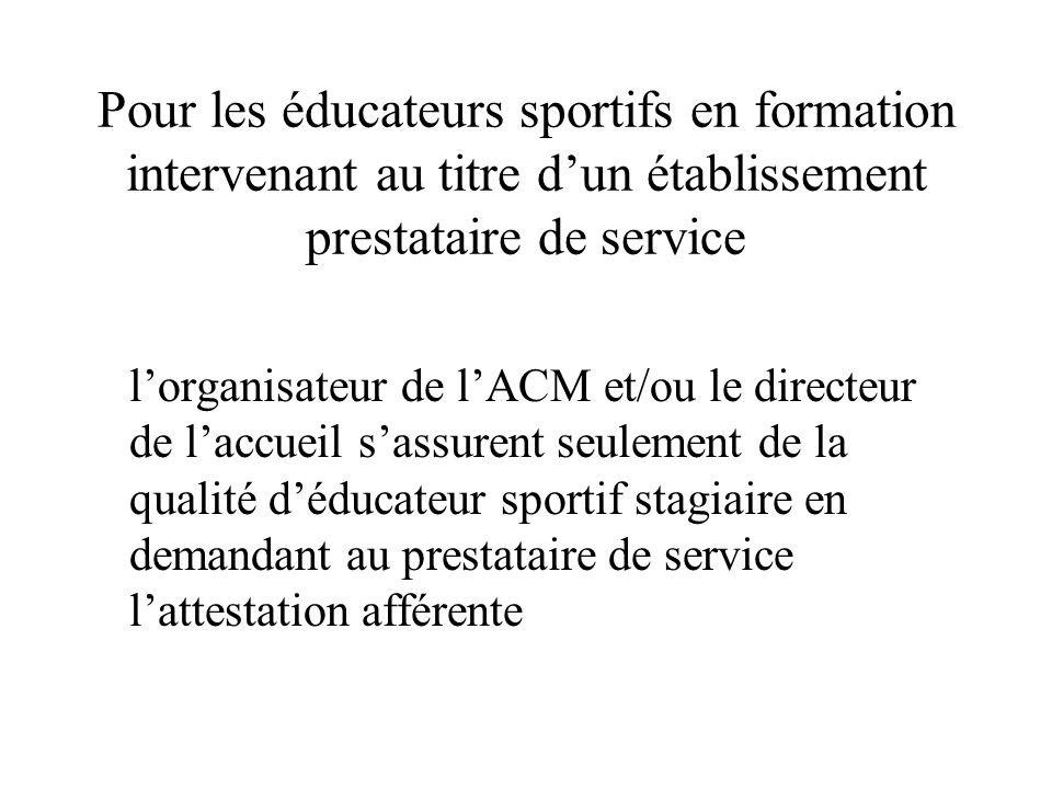 Pour les éducateurs sportifs en formation intervenant au titre d'un établissement prestataire de service l'organisateur de l'ACM et/ou le directeur de