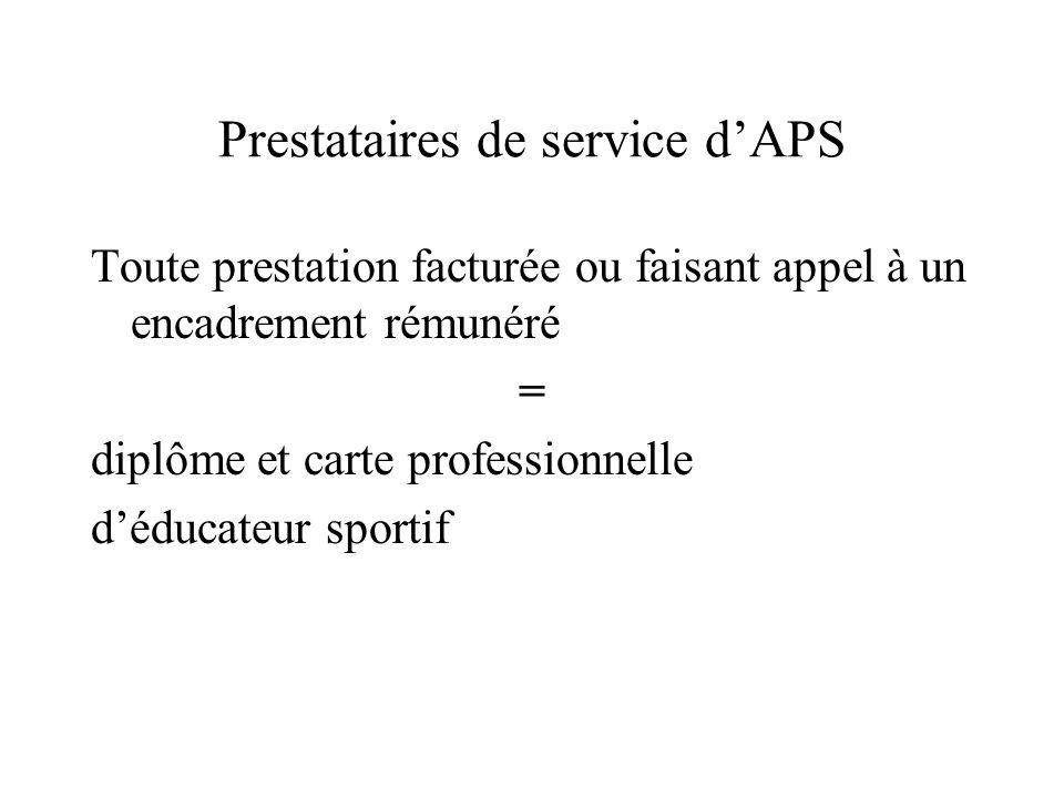 Prestataires de service d'APS Toute prestation facturée ou faisant appel à un encadrement rémunéré = diplôme et carte professionnelle d'éducateur spor