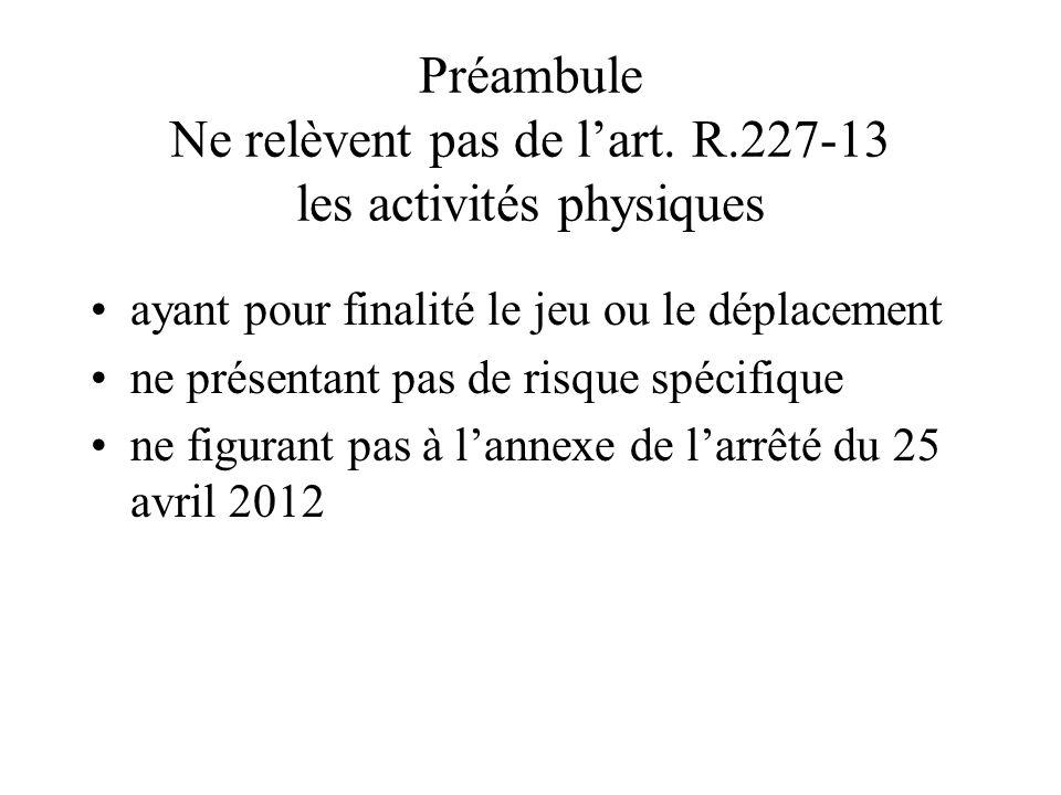Préambule Ne relèvent pas de l'art. R.227-13 les activités physiques ayant pour finalité le jeu ou le déplacement ne présentant pas de risque spécifiq