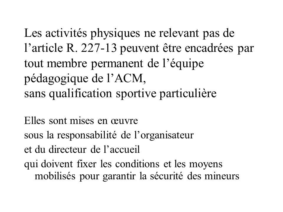 Les activités physiques ne relevant pas de l'article R. 227-13 peuvent être encadrées par tout membre permanent de l'équipe pédagogique de l'ACM, sans