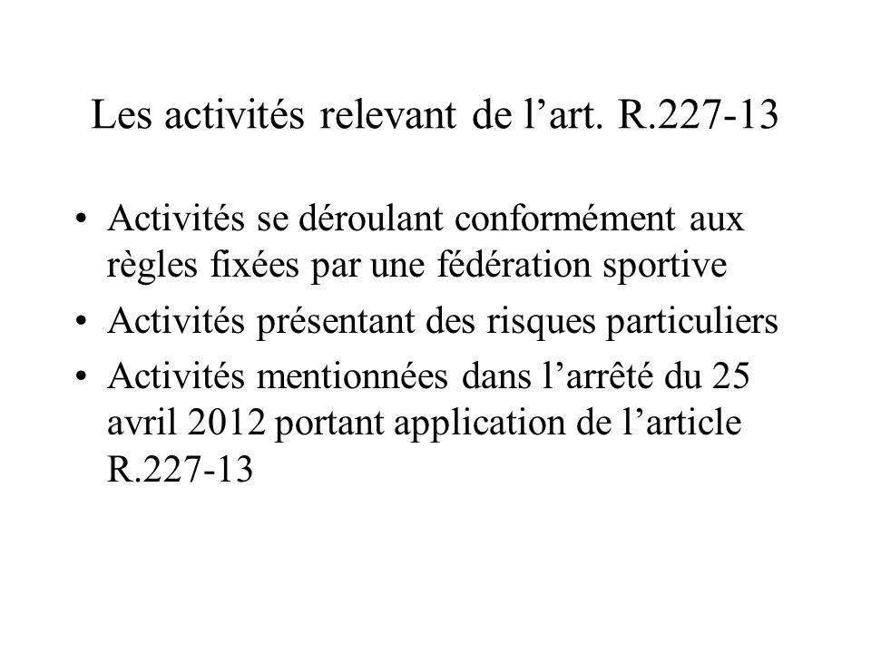 Les activités relevant de l'art. R.227-13 Activités se déroulant conformément aux règles fixées par une fédération sportive Activités présentant des r